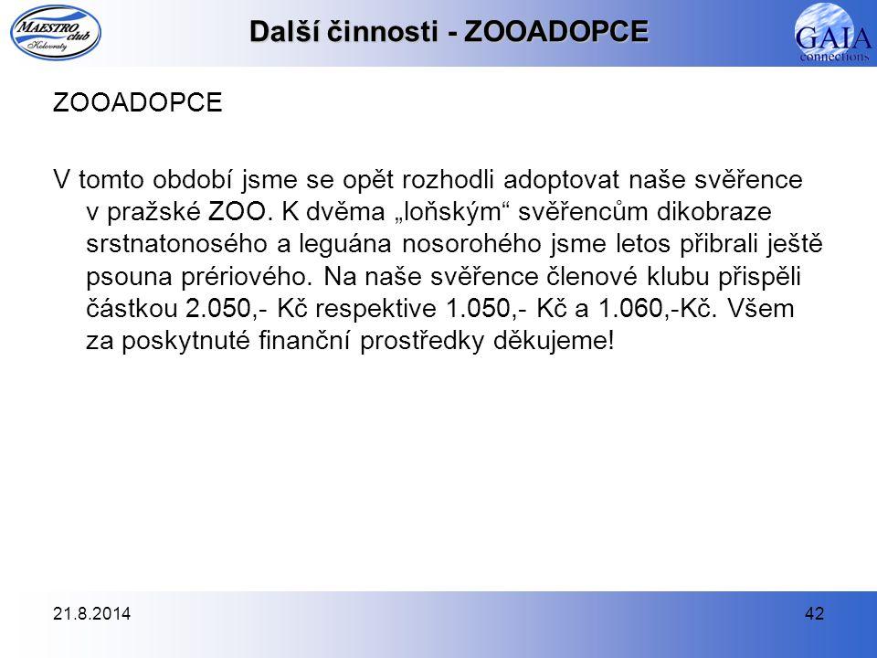 """21.8.201442 Další činnosti - ZOOADOPCE ZOOADOPCE V tomto období jsme se opět rozhodli adoptovat naše svěřence v pražské ZOO. K dvěma """"loňským"""" svěřenc"""
