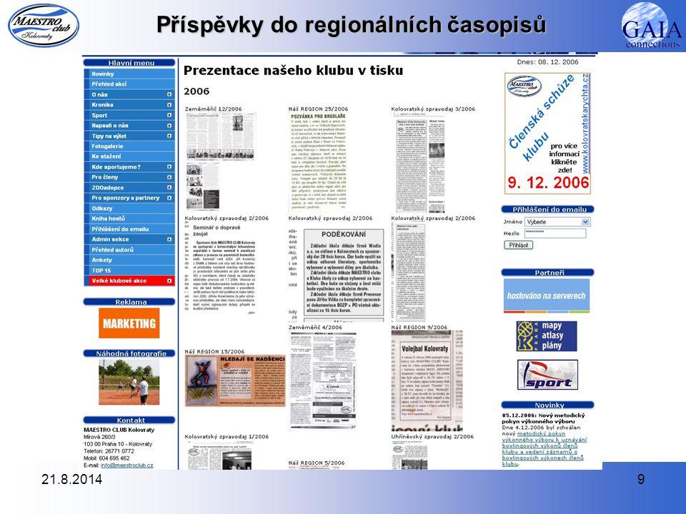 21.8.20149 Příspěvky do regionálních časopisů