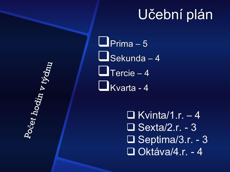 Učební plán  Prima – 5  Sekunda – 4  Tercie – 4  Kvarta - 4  Kvinta/1.r. – 4  Sexta/2.r. - 3  Septima/3.r. - 3  Oktáva/4.r. - 4 Po č et hodin