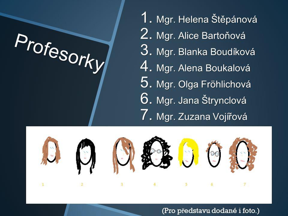 Profesorky 1. Mgr. Helena Štěpánová 2. Mgr. Alice Bartoňová 3. Mgr. Blanka Boudíková 4. Mgr. Alena Boukalová 5. Mgr. Olga Fröhlichová 6. Mgr. Jana Štr
