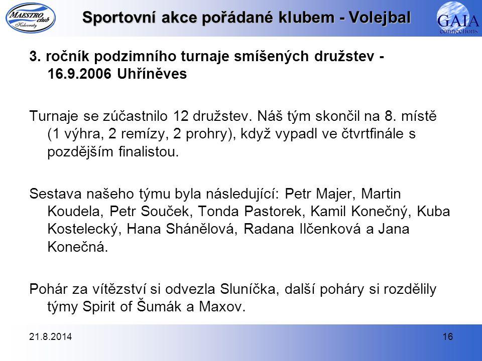 21.8.201416 Sportovní akce pořádané klubem - Volejbal 3.
