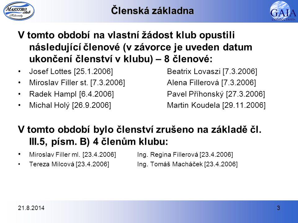 21.8.20143 Členská základna V tomto období na vlastní žádost klub opustili následující členové (v závorce je uveden datum ukončení členství v klubu) – 8 členové: Josef Lottes [25.1.2006]Beatrix Lovaszi [7.3.2006] Miroslav Filler st.