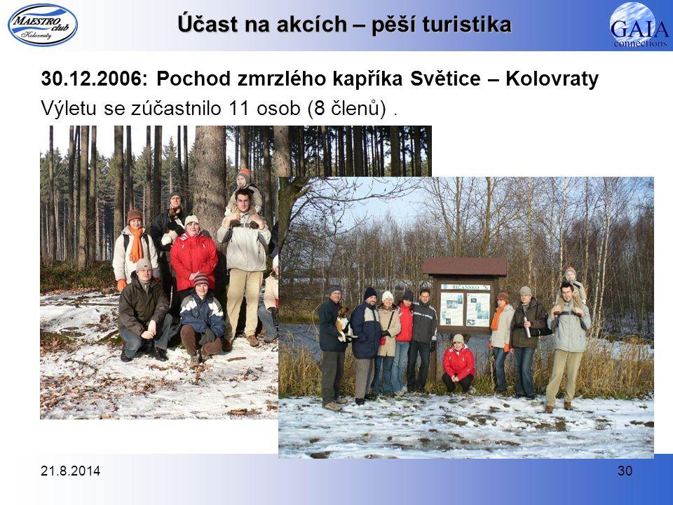 21.8.201430 Účast na akcích – pěší turistika 30.12.2006: Pochod zmrzlého kapříka Světice – Kolovraty Výletu se zúčastnilo 11 osob (8 členů).