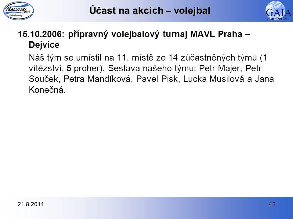 21.8.201442 Účast na akcích – volejbal 15.10.2006: přípravný volejbalový turnaj MAVL Praha – Dejvice Náš tým se umístil na 11. místě ze 14 zúčastněnýc