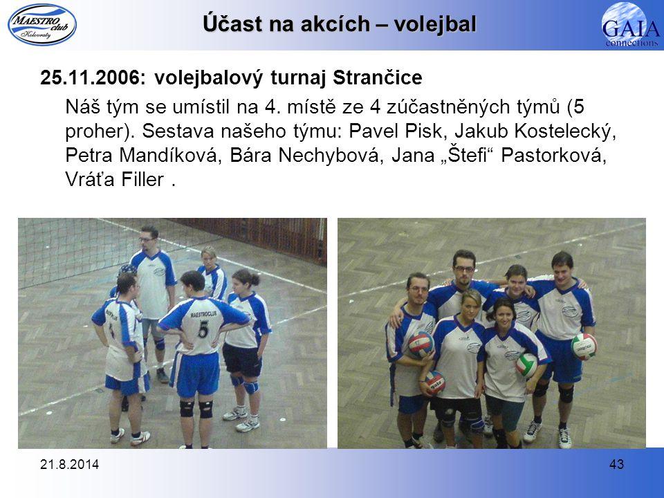 21.8.201443 Účast na akcích – volejbal 25.11.2006: volejbalový turnaj Strančice Náš tým se umístil na 4. místě ze 4 zúčastněných týmů (5 proher). Sest