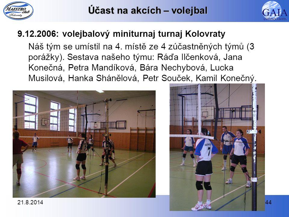 21.8.201444 Účast na akcích – volejbal 9.12.2006: volejbalový miniturnaj turnaj Kolovraty Náš tým se umístil na 4. místě ze 4 zúčastněných týmů (3 por