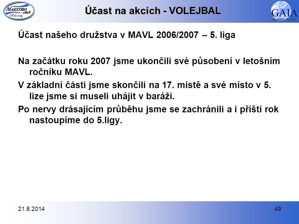 21.8.201449 Účast na akcích - VOLEJBAL Účast našeho družstva v MAVL 2006/2007 – 5. liga Na začátku roku 2007 jsme ukončili své působení v letošním roč