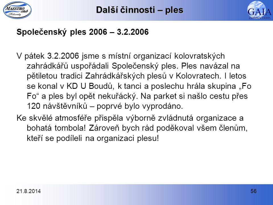 21.8.201456 Další činnosti – ples Společenský ples 2006 – 3.2.2006 V pátek 3.2.2006 jsme s místní organizací kolovratských zahrádkářů uspořádali Společenský ples.