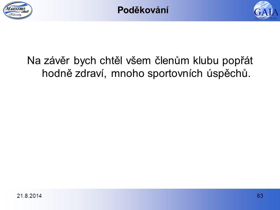 21.8.201463Poděkování Na závěr bych chtěl všem členům klubu popřát hodně zdraví, mnoho sportovních úspěchů.