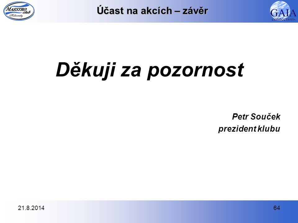 21.8.201464 Účast na akcích – závěr Děkuji za pozornost Petr Souček prezident klubu