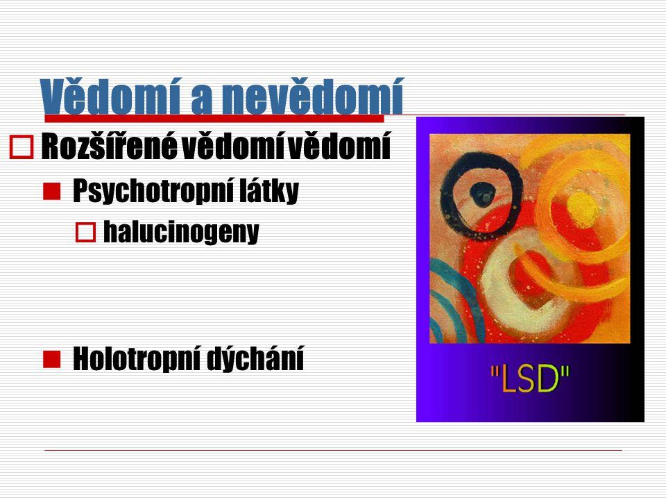 Vědomí a nevědomí  Rozšířené vědomí vědomí Psychotropní látky  halucinogeny Holotropní dýchání