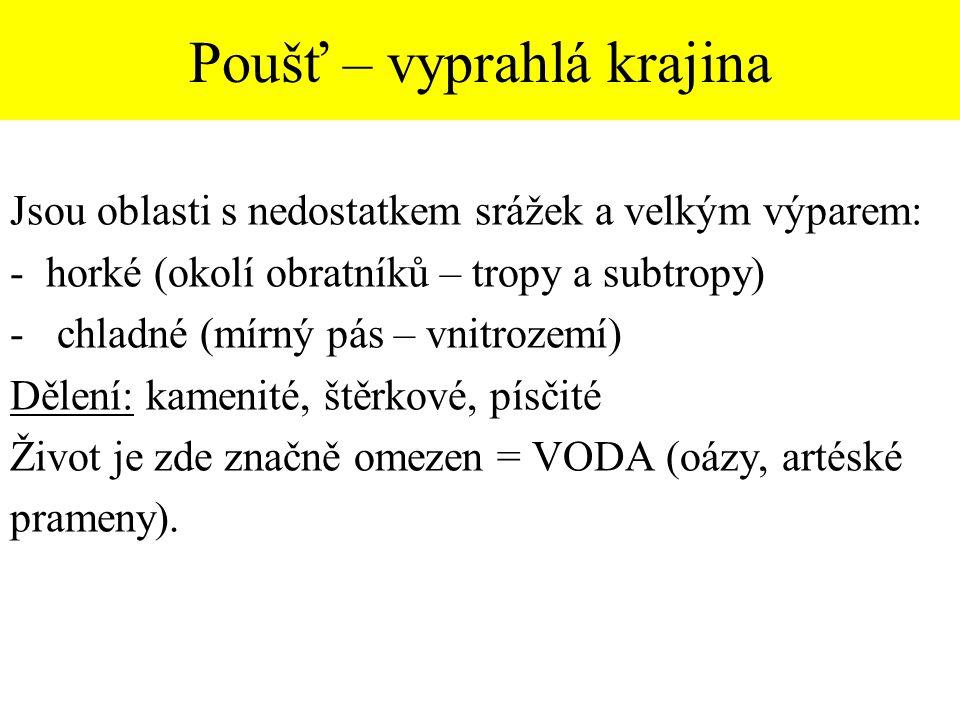 Doplň chybějící pojmy Pouště a polopouště Pokrývají … /3 rozlohy souše.