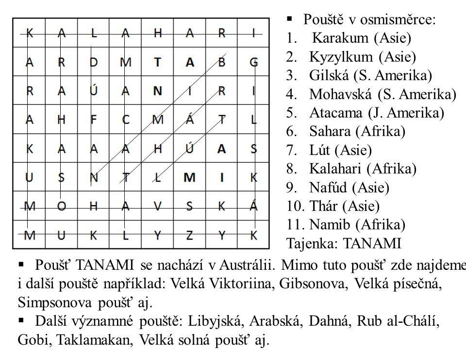  Pouště v osmisměrce: 1.Karakum (Asie) 2.Kyzylkum (Asie) 3.Gilská (S.