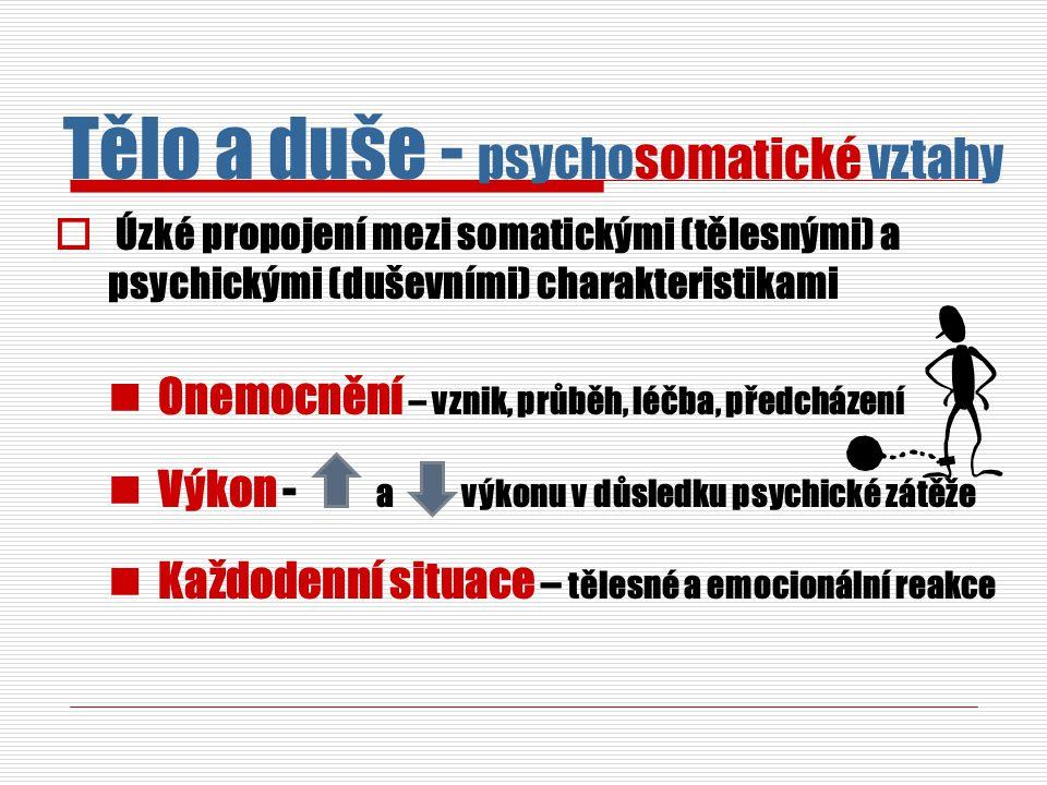  Úzké propojení mezi somatickými (tělesnými) a psychickými (duševními) charakteristikami Onemocnění – vznik, průběh, léčba, předcházení Výkon - a výk