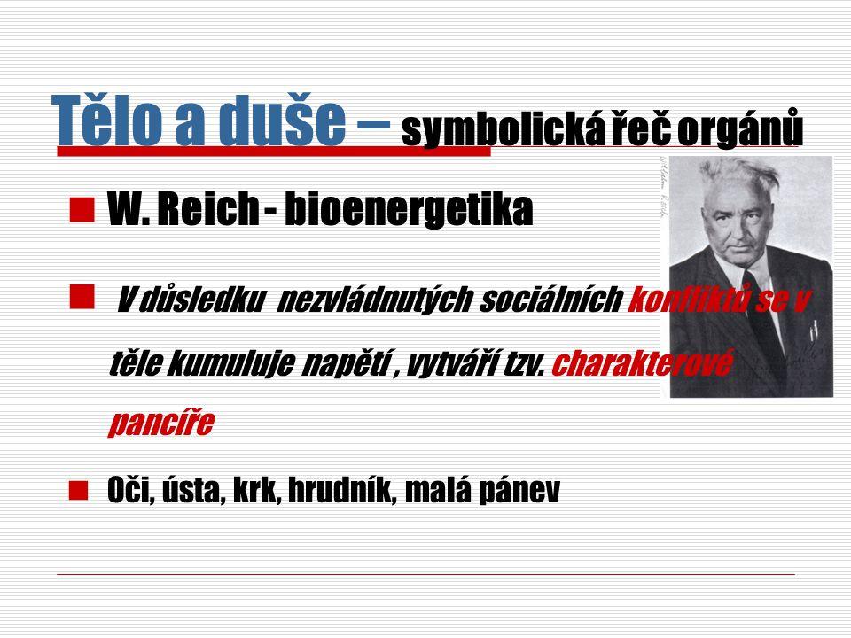 W. Reich - bioenergetika V důsledku nezvládnutých sociálních konfliktů se v těle kumuluje napětí, vytváří tzv. charakterové pancíře Oči, ústa, krk, hr