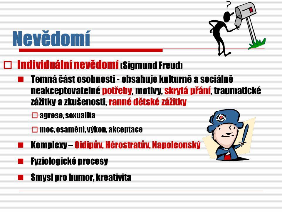 Nevědomí  Individuální nevědomí ( Sigmund Freud ) Temná část osobnosti - obsahuje kulturně a sociálně neakceptovatelné potřeby, motivy, skrytá přání,