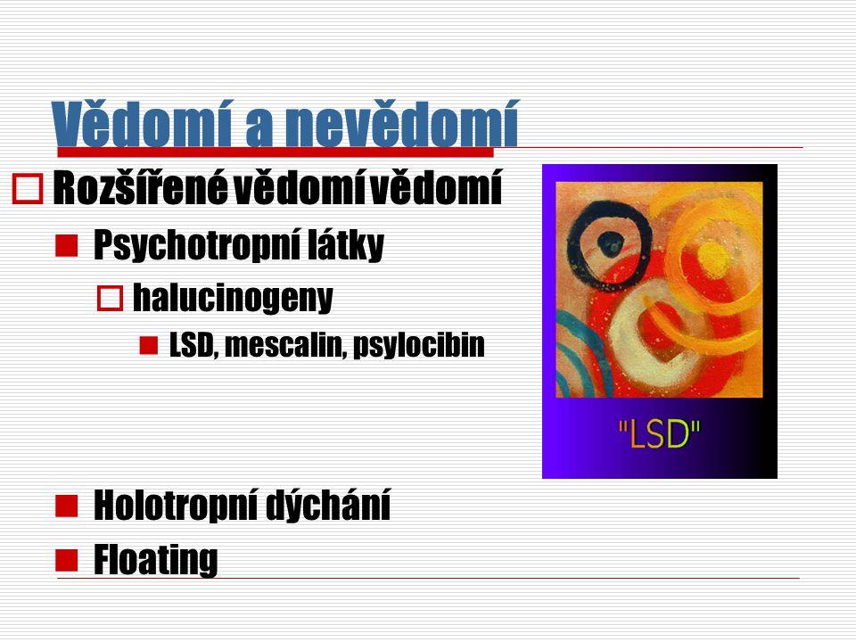 Vědomí a nevědomí  Rozšířené vědomí vědomí Psychotropní látky  halucinogeny LSD, mescalin, psylocibin Holotropní dýchání Floating