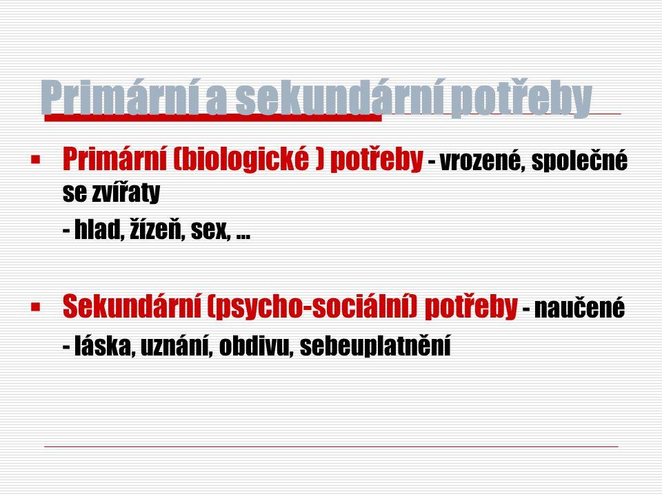 Primární a sekundární potřeby  Primární (biologické ) potřeby - vrozené, společné se zvířaty - hlad, žízeň, sex, …  Sekundární (psycho-sociální) pot