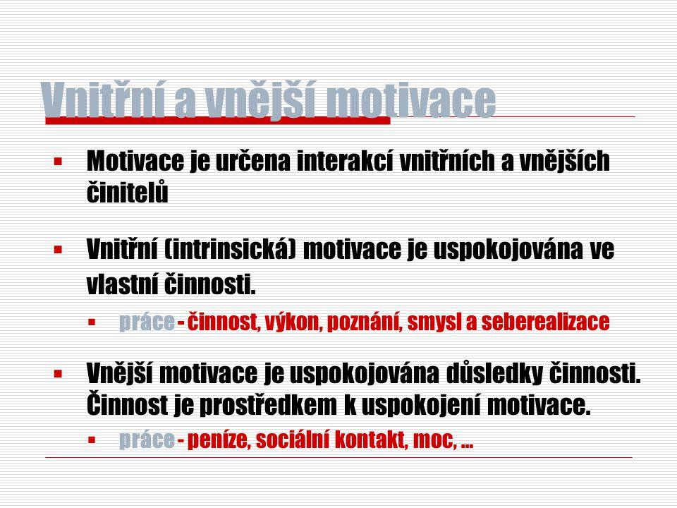 Vnitřní a vnější motivace  Motivace je určena interakcí vnitřních a vnějších činitelů  Vnitřní (intrinsická) motivace je uspokojována ve vlastní čin