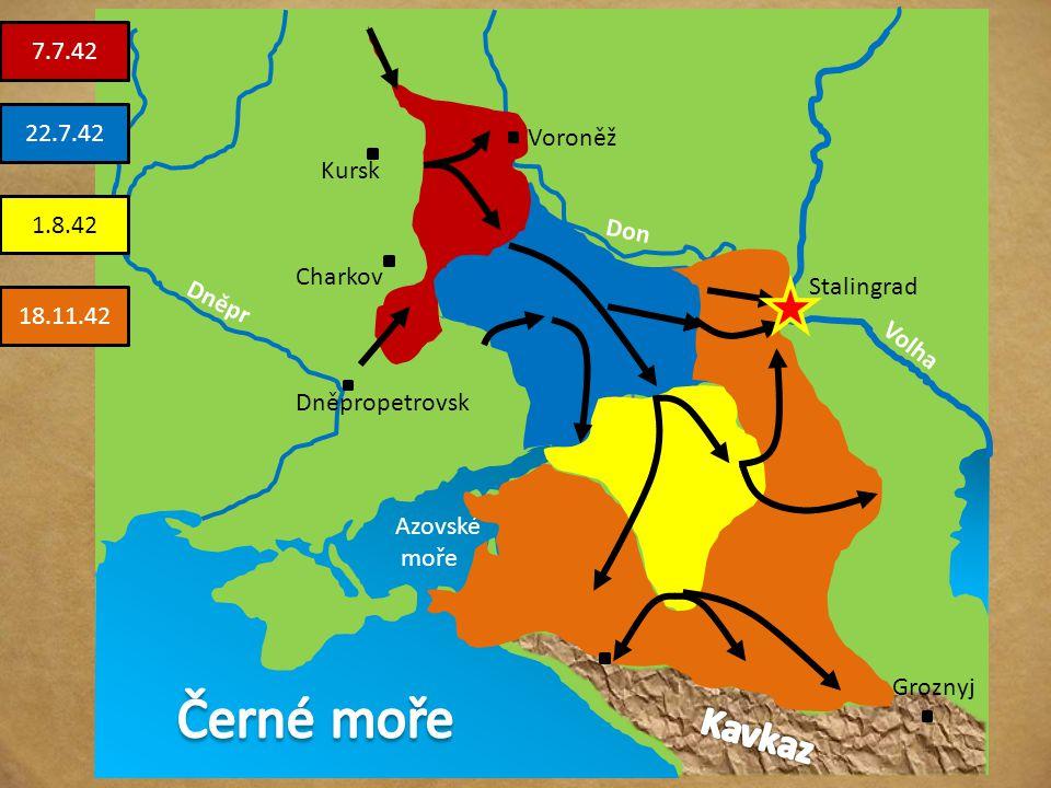 Rozhodující a přelomové období války útok na jih Ruska s cílem ovládnout Povolží, Kavkaz (naftová pole) pronikli až na sever Kavkazu, nezdařilo se vša
