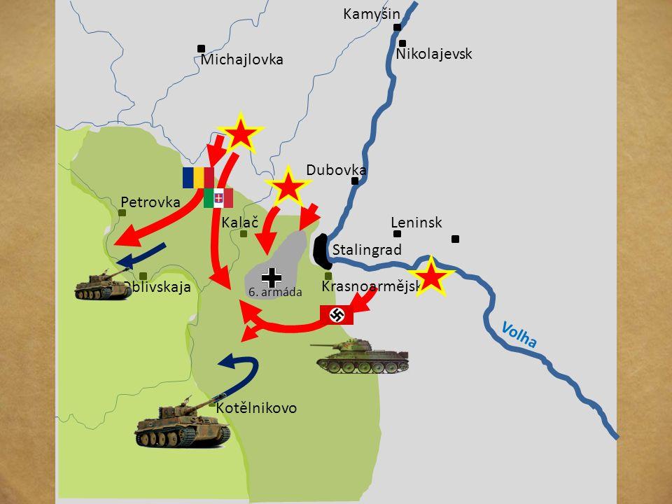 Azovské moře Stalingrad Kursk Voroněž Charkov Dněpropetrovsk Volha Dněpr Don Groznyj 18.11. 42 – 2.2. 43