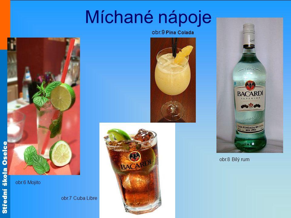 Střední škola Oselce obr.6 Mojito obr.7 Cuba Libre obr.8 Bílý rum obr.9 Pina Colada Míchané nápoje