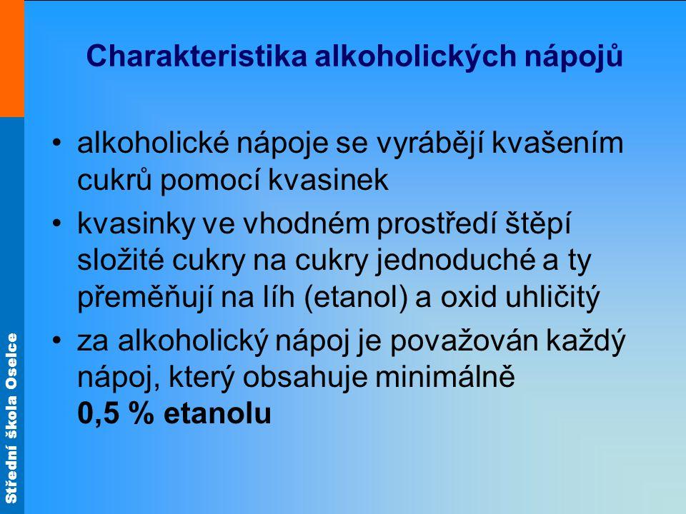 Střední škola Oselce Charakteristika alkoholických nápojů alkoholické nápoje se vyrábějí kvašením cukrů pomocí kvasinek kvasinky ve vhodném prostředí