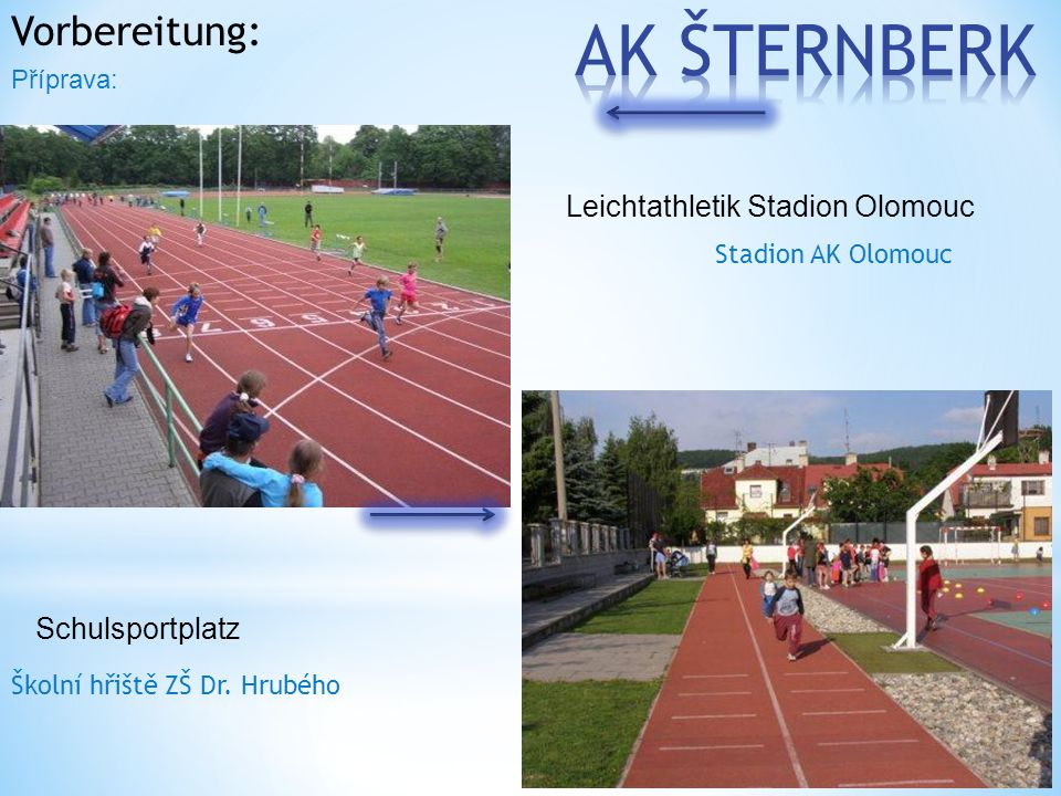 Vorbereitung: Stadion AK Olomouc Školní hřiště ZŠ Dr. Hrubého Příprava: Leichtathletik Stadion Olomouc Schulsportplatz