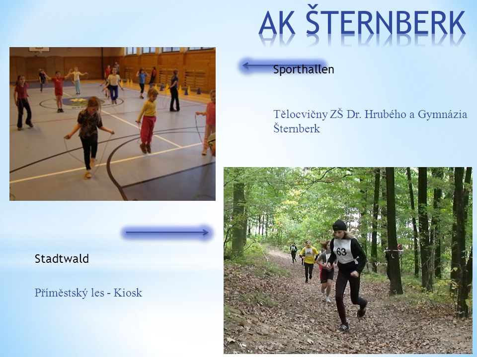 Tělocvičny ZŠ Dr. Hrubého a Gymnázia Šternberk Příměstský les - Kiosk Sporthallen Stadtwald