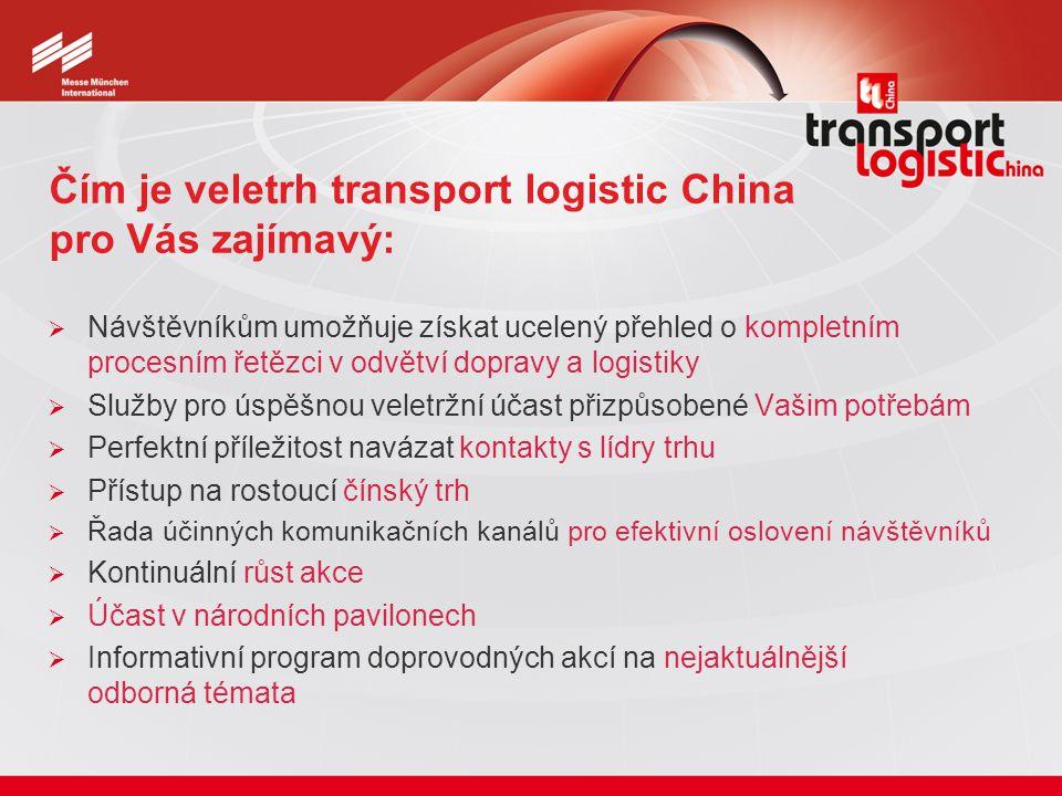 Čím je veletrh transport logistic China pro Vás zajímavý:  Návštěvníkům umožňuje získat ucelený přehled o kompletním procesním řetězci v odvětví dopravy a logistiky  Služby pro úspěšnou veletržní účast přizpůsobené Vašim potřebám  Perfektní příležitost navázat kontakty s lídry trhu  Přístup na rostoucí čínský trh  Řada účinných komunikačních kanálů pro efektivní oslovení návštěvníků  Kontinuální růst akce  Účast v národních pavilonech  Informativní program doprovodných akcí na nejaktuálnější odborná témata