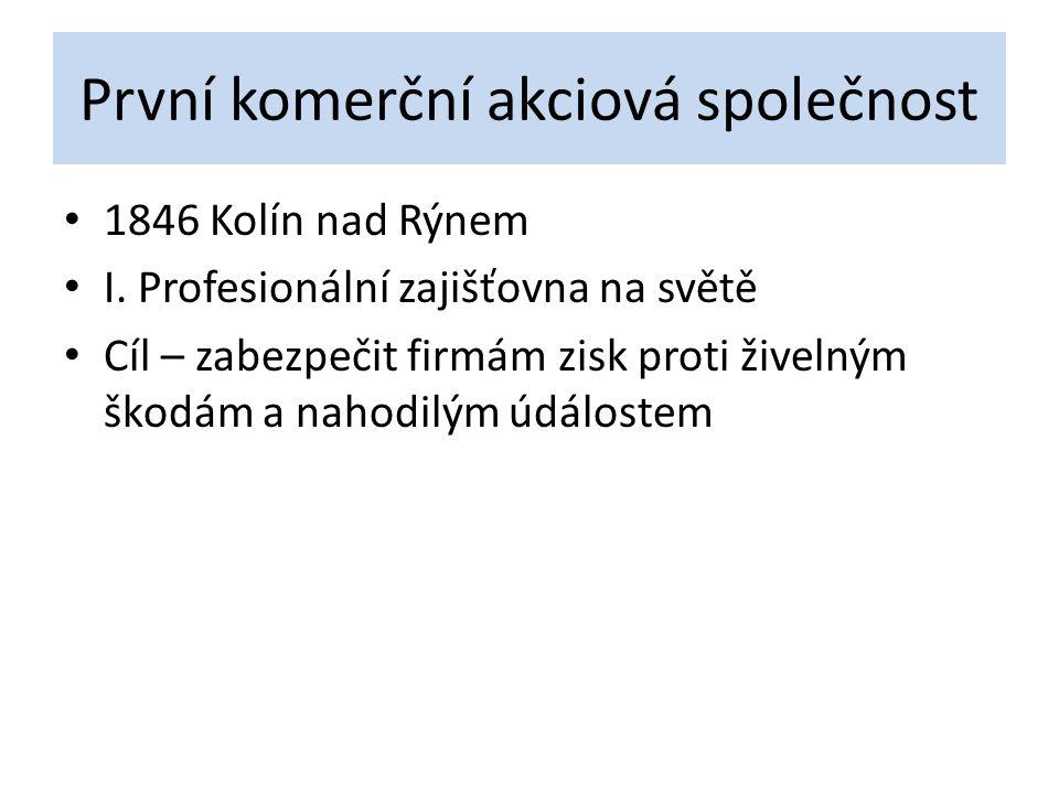 První komerční akciová společnost 1846 Kolín nad Rýnem I. Profesionální zajišťovna na světě Cíl – zabezpečit firmám zisk proti živelným škodám a nahod