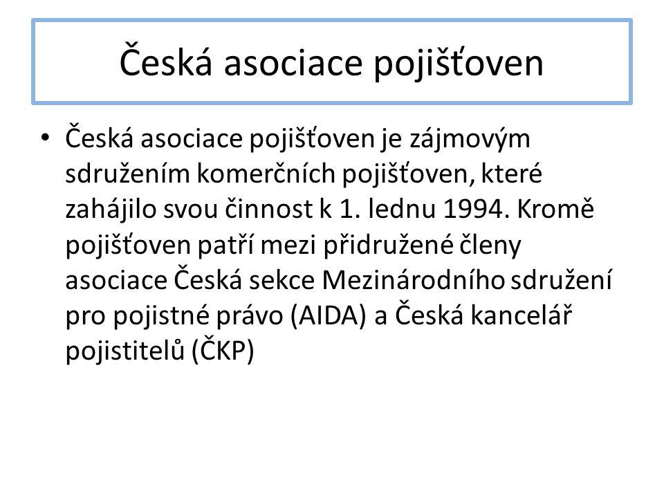 Česká asociace pojišťoven Česká asociace pojišťoven je zájmovým sdružením komerčních pojišťoven, které zahájilo svou činnost k 1. lednu 1994. Kromě po