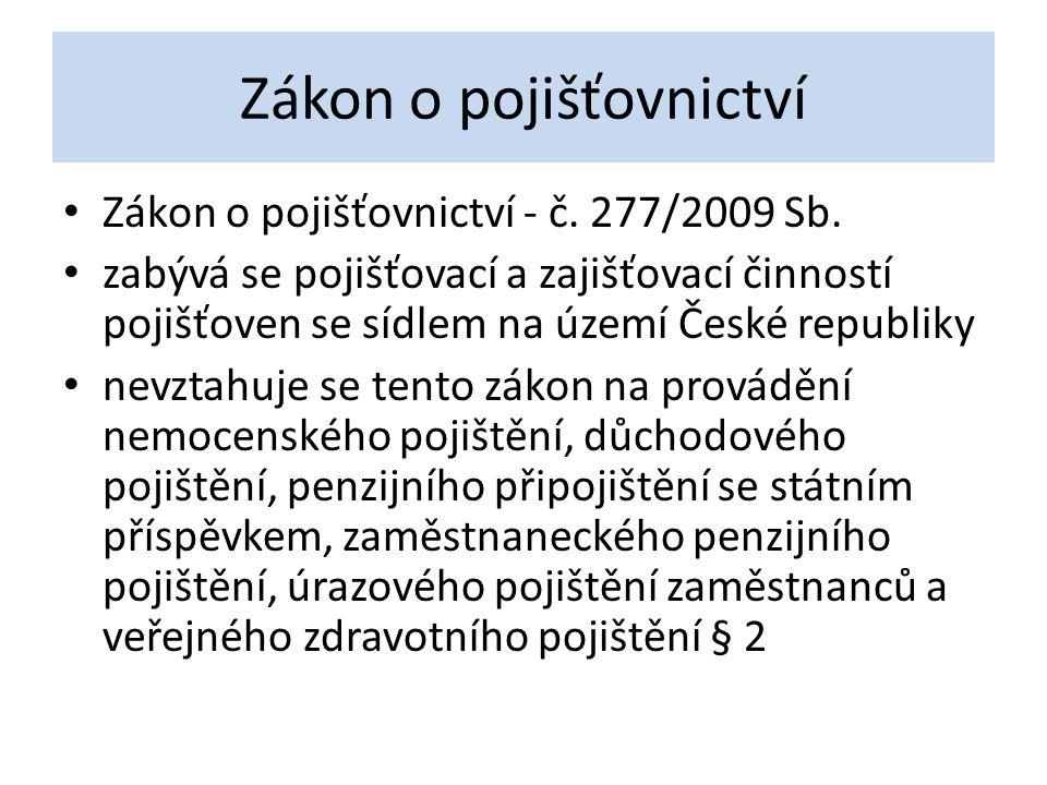 Zákon o pojišťovnictví Zákon o pojišťovnictví - č. 277/2009 Sb. zabývá se pojišťovací a zajišťovací činností pojišťoven se sídlem na území České repub
