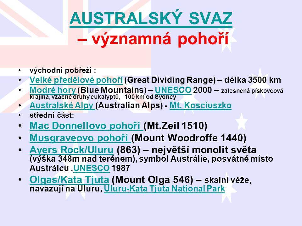AUSTRALSKÝ SVAZ AUSTRALSKÝ SVAZ – významná pohoří východní pobřeží : Velké předělové pohoří (Great Dividing Range) – délka 3500 kmVelké předělové poho