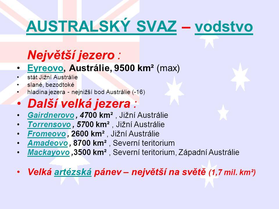 AUSTRALSKÝ SVAZAUSTRALSKÝ SVAZ – vodstvovodstvo Největší jezero : Eyreovo, Austrálie, 9500 km² (max)Eyreovo stát Jižní Austrálie slané, bezodtoké hlad