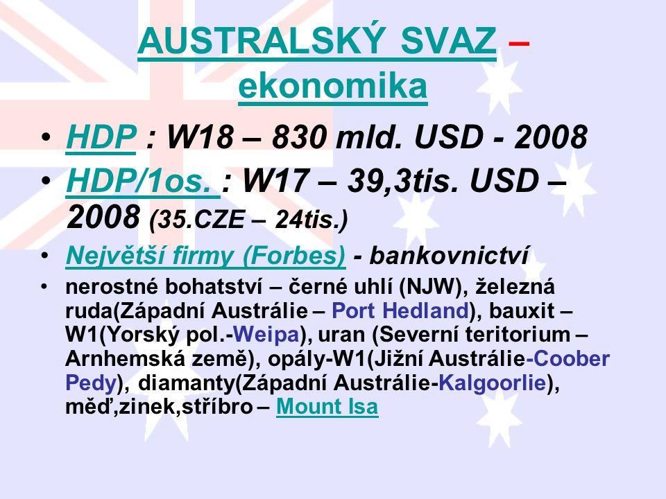AUSTRALSKÝ SVAZAUSTRALSKÝ SVAZ – ekonomika ekonomika HDP : W18 – 830 mld. USD - 2008HDP HDP/1os. : W17 – 39,3tis. USD – 2008 (35.CZE – 24tis.)HDP/1os.