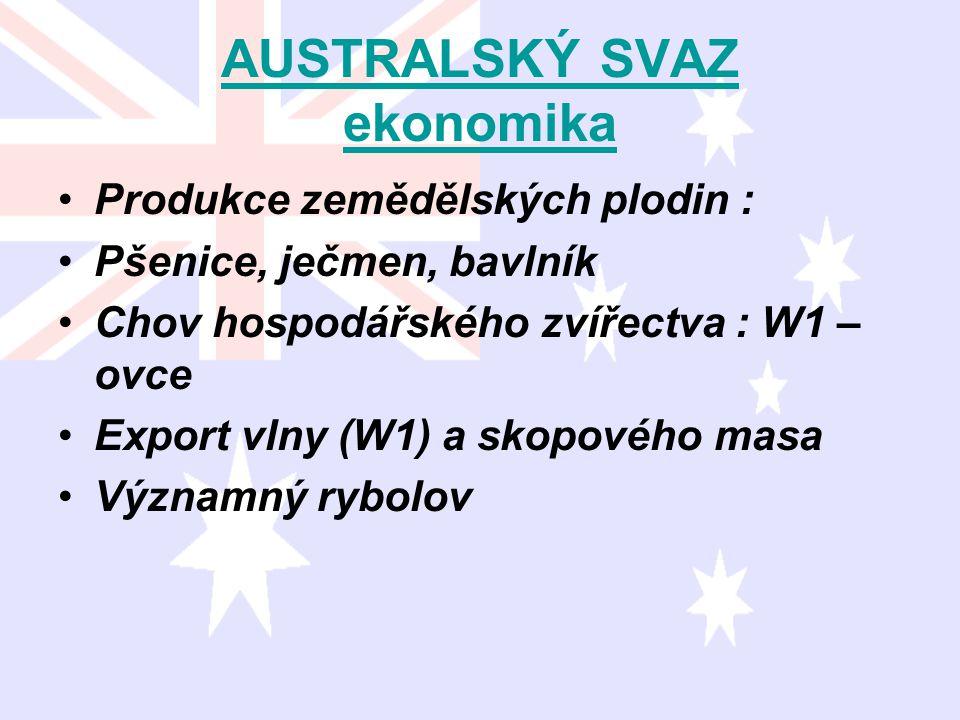AUSTRALSKÝ SVAZ ekonomika Produkce zemědělských plodin : Pšenice, ječmen, bavlník Chov hospodářského zvířectva : W1 – ovce Export vlny (W1) a skopovéh