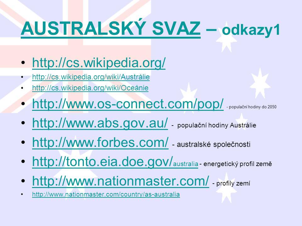 AUSTRALSKÝ SVAZAUSTRALSKÝ SVAZ – odkazy1 http://cs.wikipedia.org/ http://cs.wikipedia.org/wiki/Austrálie http://cs.wikipedia.org/wiki/Oceánie http://w