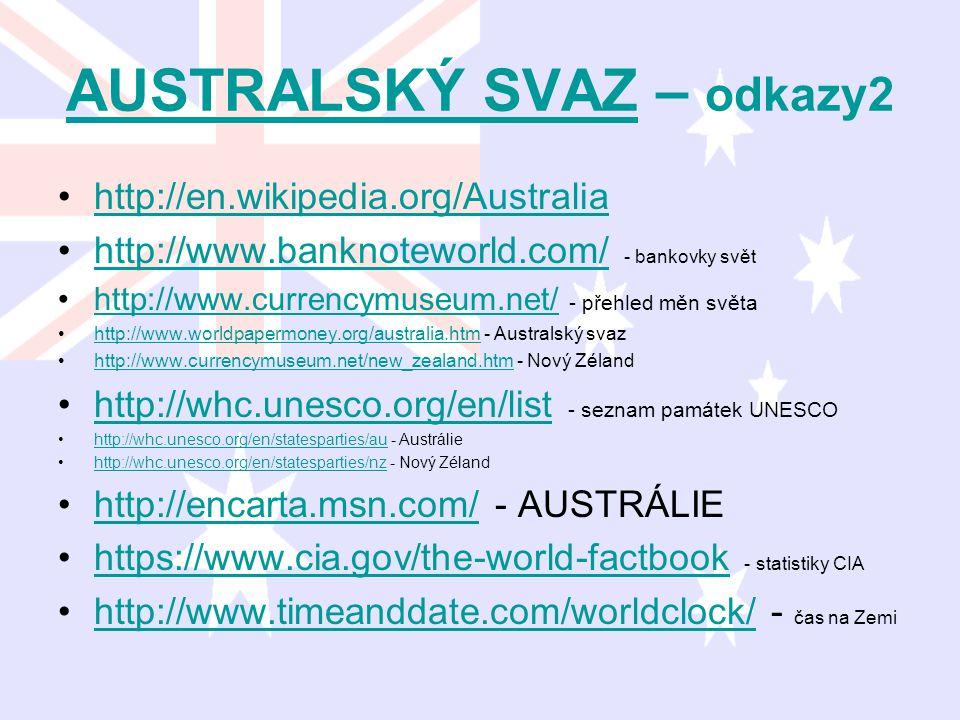 AUSTRALSKÝ SVAZAUSTRALSKÝ SVAZ – odkazy2 http://en.wikipedia.org/Australia http://www.banknoteworld.com/ - bankovky světhttp://www.banknoteworld.com/