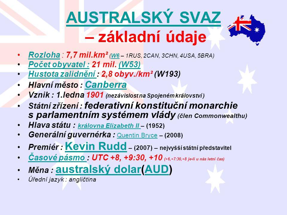 AUSTRALSKÝ SVAZ – základní údaje Rozloha : 7,7 mil.km² (W6 – 1RUS, 2CAN, 3CHN, 4USA, 5BRA)RozlohaW6 Počet obyvatel : 21 mil. (W53)Počet obyvatel :(W53