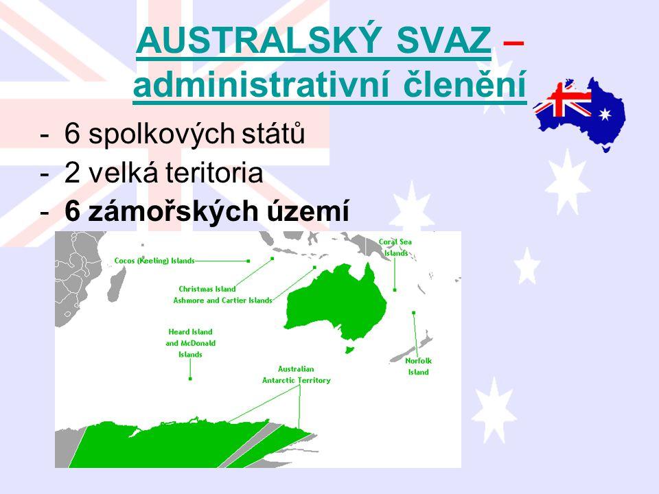 AUSTRALSKÝ SVAZAUSTRALSKÝ SVAZ – administrativní členění administrativní členění -6 spolkových států -2 velká teritoria -6 zámořských území