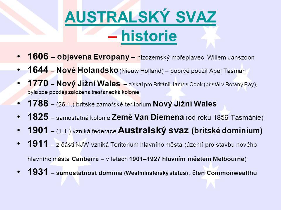AUSTRALSKÝ SVAZ AUSTRALSKÝ SVAZ – historiehistorie 1606 – objevena Evropany – nizozemský mořeplavec Willem Janszoon 1644 – Nové Holandsko (Nieuw Holla