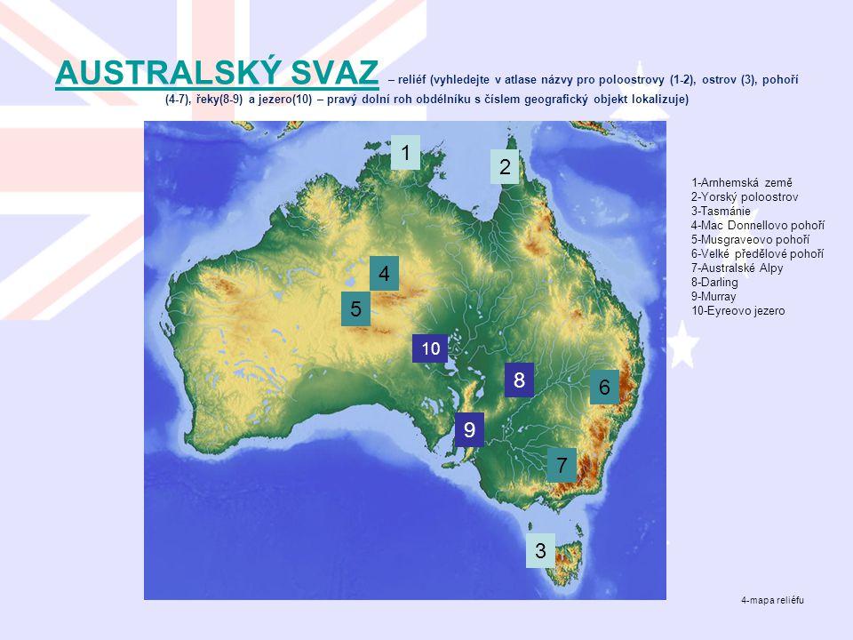 AUSTRALSKÝ SVAZAUSTRALSKÝ SVAZ – reliéf (vyhledejte v atlase názvy pro poloostrovy (1-2), ostrov (3), pohoří (4-7), řeky(8-9) a jezero(10) – pravý dol