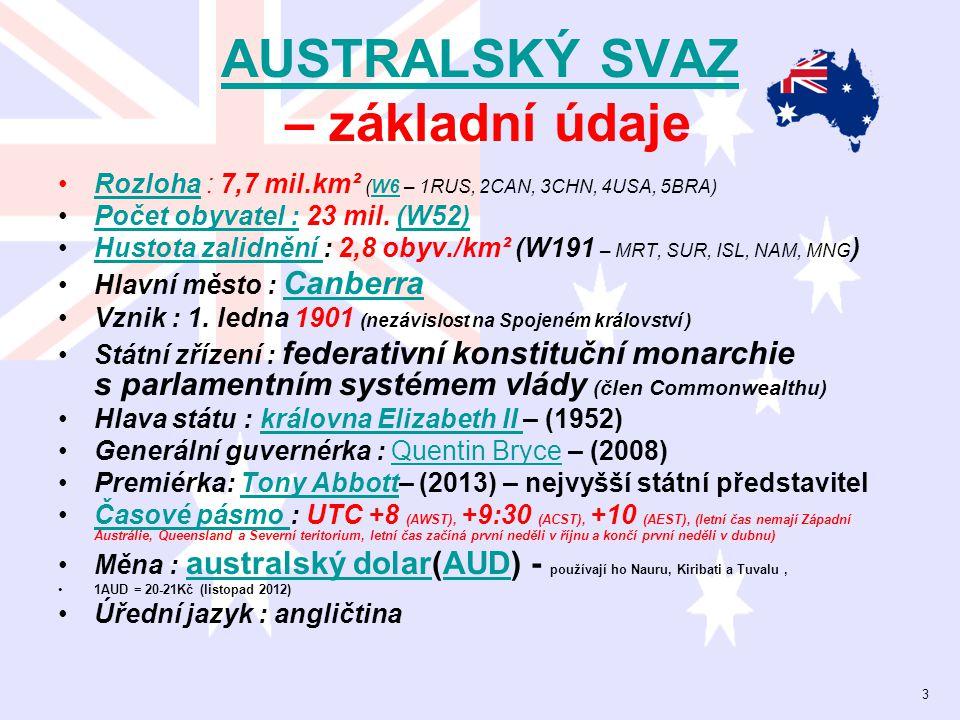 AUSTRALSKÝ SVAZ AUSTRALSKÝ SVAZ – základní údaje Rozloha : 7,7 mil.km² (W6 – 1RUS, 2CAN, 3CHN, 4USA, 5BRA)RozlohaW6 Počet obyvatel : 23 mil. (W52)Poče