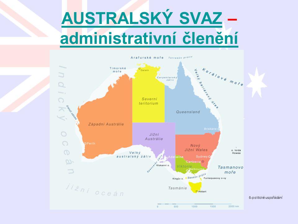 AUSTRALSKÝ SVAZAUSTRALSKÝ SVAZ – administrativní členění administrativní členění 6-politické uspořádání