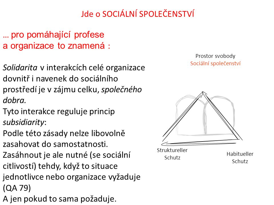 Prostor svobody Sociální společenství Struktureller Schutz Habitueller Schutz Jde o SOCIÁLNÍ SPOLEČENSTVÍ … pro pomáhající profese a organizace to zna