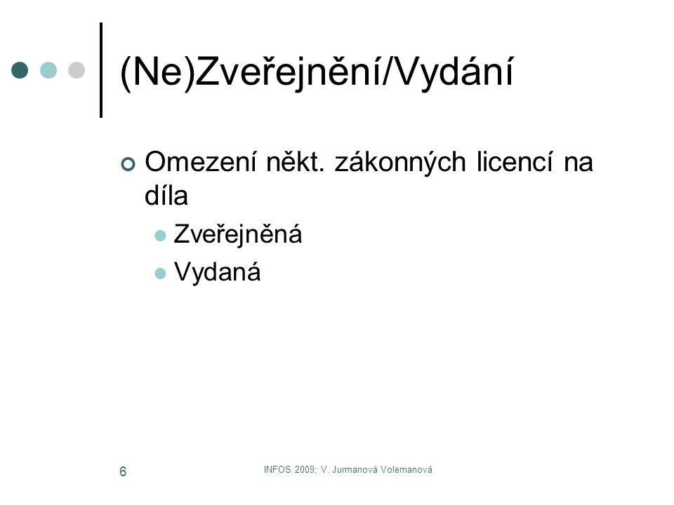 INFOS 2009; V. Jurmanová Volemanová 6 (Ne)Zveřejnění/Vydání Omezení někt. zákonných licencí na díla Zveřejněná Vydaná