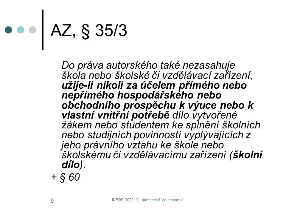 INFOS 2009; V. Jurmanová Volemanová 9 AZ, § 35/3 Do práva autorského také nezasahuje škola nebo školské či vzdělávací zařízení, užije-li nikoli za úče