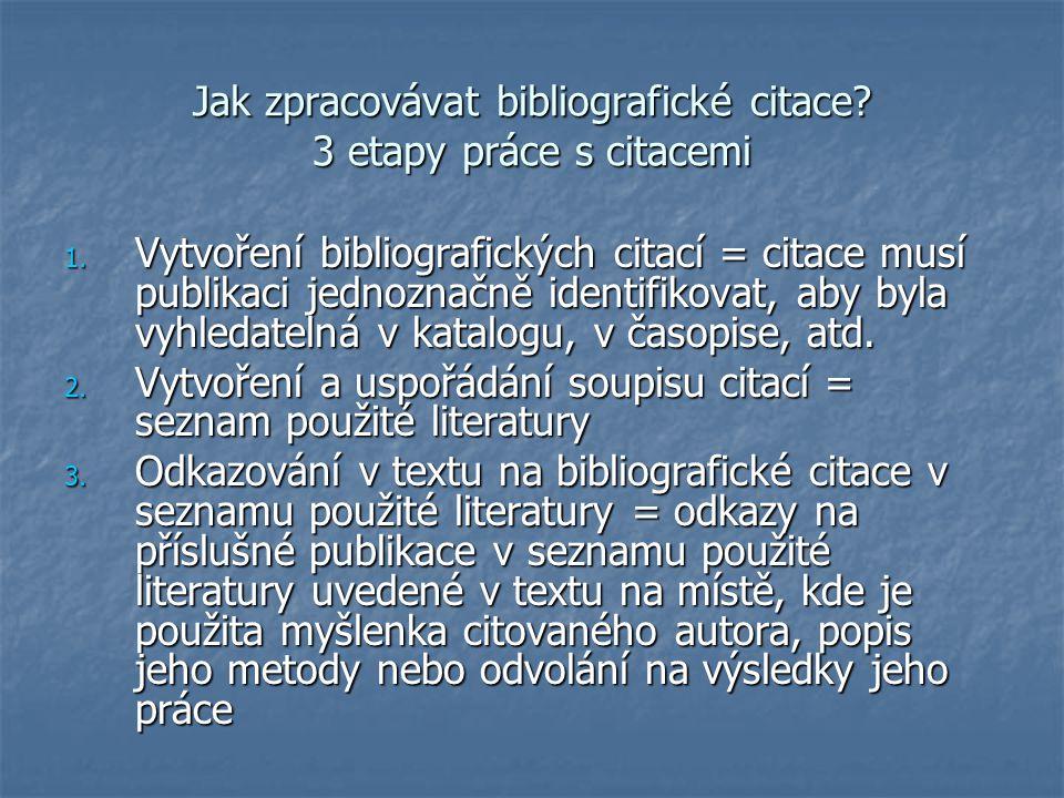 Bibliografická citace = souhrn údajů o citované publikaci nebo její části umožňující její identifikaci Uvádí se jednak citace pramene, odkud byla info