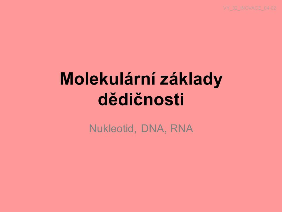 Nukleové kyseliny Nositelka genetické informace (u většiny organismů DNA, u RNA virů – RNA) Jednotka nukleotid : 1) báze: adenin (A), thymin (T), guanin (G), cytosin (C) u RNA místo thyminu je uracil (U) 2) cukr (deoxyribosa DNA, ribosa RNA) 3) fosfát